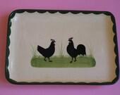Zell Hamersbach Zeller Ceramic Rooster and Hen Serving Plate Plate Cake 27x19