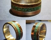 Handmade Silver Dinosaur Bone, Turquoise and Copper Inlay Wedding Band. 8MM