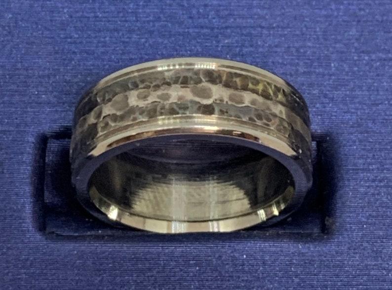Handmade Hammered finish Silver Inlay Blackened Wedding Band