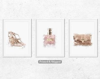 f3b3d270d3f0 Fashion Set of 3 Prints,Bedroom Decor Dressing Room Prints Designer Art,Blush  Pink Print,Watercolour Art Gifts for Her, Rockstud Shoes Bag