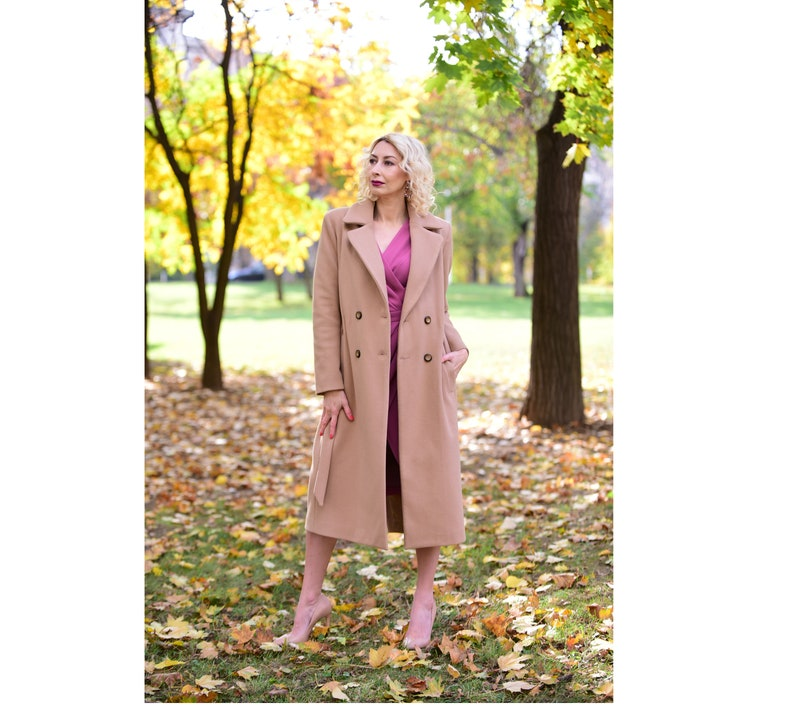 Camel Wool Coat It comes in plus size too Fall Coat Winter Coat Belted Coat worm coat Women/'s Trench Coat Women/'s  Autumn Overcoat