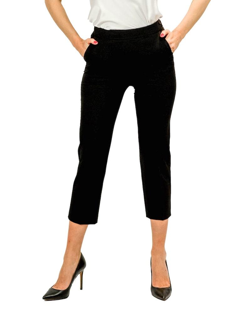 Three quarter suit pencil pants-Medium waist-Side pockets pants-Striped pants-Office wear-Office pants-High quality pants