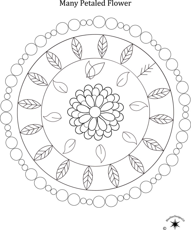 Mandala Downloadable Adult Coloring Pages Mmp02 Etsy