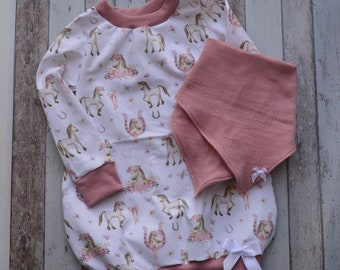 Set Balloon Tunic + Cloth, Size 92/98, Sweater, Dress, Muslin, Neck Scarf, Girl, Horses, Girl Set, Handmade