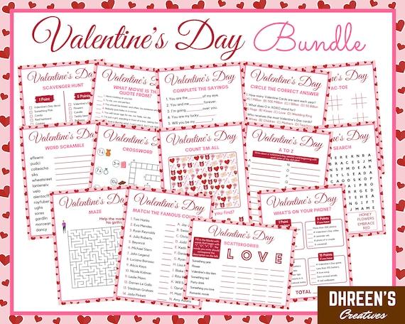 Valentine's Day Activity Bundle  14 Printable Activities