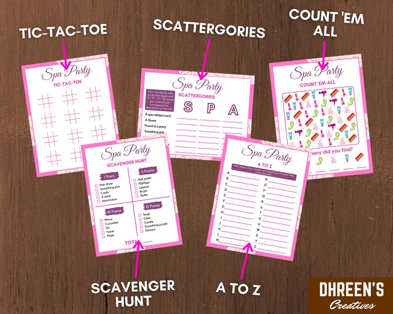 10 Printable Activities For Kids Spa Party Games Instant Download Printable Spa Birthday Party Pack Spa Birthday Party Activity Bundle