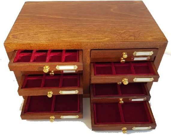 ZIP Code16. ZECCHI. Small wooden coin box with 16 drawers for ancient coins, velvet inner lining. Wooden Coin Cabinet