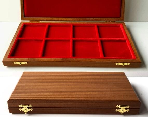 Art ALM108 Astuccio in Legno per 8 Monete, Caselle di 50 mm per Scudo Piastra Tari' Grosso Grana etc. Wooden Case for 8 Coins, 50 mm squares