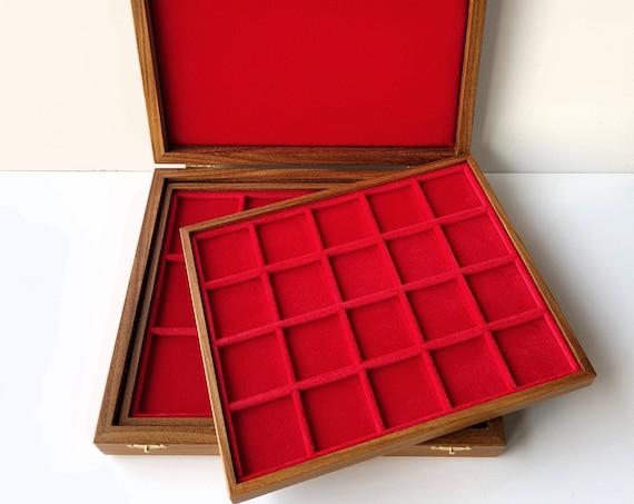 art.ALM02 Astuccio Cofanetto in Legno Medio con 2 Vassoi per Monete. ZECCHI Wooden coin box with 2 trays. Coins tray case. Coin display case
