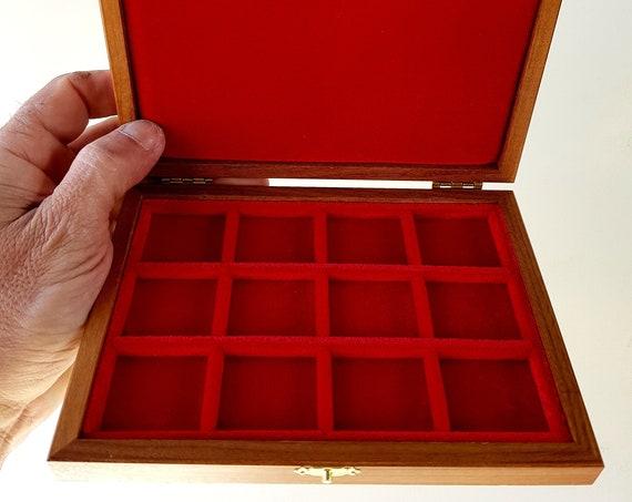 ALP112 Astuccio Cofanetto per Monete con 12 spazi di 31 mm  ZECCHI Wood Coin Box Wooden Coin Case Coin Storage Box 12 spaces up to 31 mm