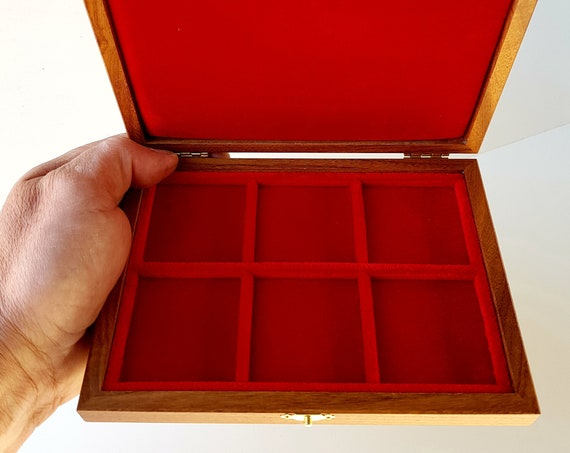 ALP106 Astuccio Cofanetto per Monete con 6 spazi di 47 mm  ZECCHI Wood Coin Box Wooden Coin Case Coin Storage Box 6 spaces up to 47 mm