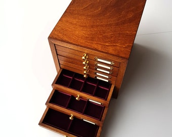 Art. CAP08 Wooden coins for antique coins, gold, silver. Coin Cabinet, 8 drawers. Velvet Trays for coins. Antique, Roman coins,Greek