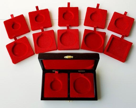 Art.ALP02M Astuccio Cofanetto per 2 Monete Antiche Incavo Foro a scelta fra questi  22,5/28/31/33/37/41/43/46/50 Case for Coins with 2 Holes