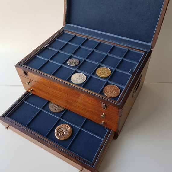 Wooden Medal Cabinet Medal Box Medal Cabinet Antique Medal Chest of this. Box for Commemorative Religious Papal Military Whistler medals etc.