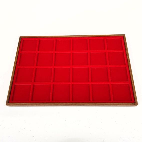 Art. VAG324  Vassoio numismatico per MONETE realizzato in legno e velluto. 24 squares 47 x 47 mm. Wood and velvet coin tray cabinet