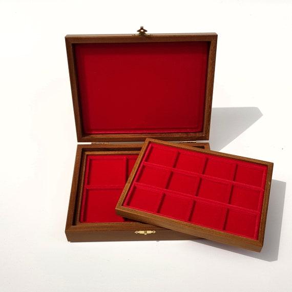 art.ALP02 Astuccio Cofanetto in Legno Piccolo con 2 Vassoi per Monete. ZECCHI Wooden coin box with 2 trays. Coins tray case. Coin case