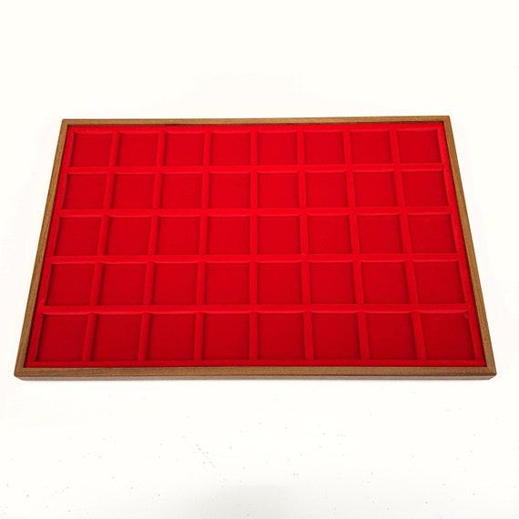 Art. VAG340  Vassoio numismatico per MONETE realizzato in legno e velluto. 40 squares 35 x 35 mm. Wood and velvet coin tray cabinet