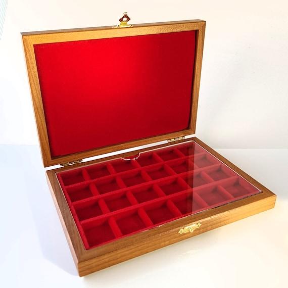 ALP124 Astuccio Cofanetto per Monete antiche con 24 spazi di 22 mm  ZECCHI Wood Coin Box Wooden Coin Case Coin Storage 24 spaces up to 22 mm