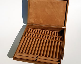 TICKS. 54-seat box box built of Solid wood. Pen Holder Box 54 places in solid Wood