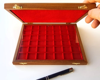 Art. ALM242 ZECCHI Case For Solid Wood and Velvet Coins Wooden Coin Case Coin Storage Box Solid Wood Coin Display Box