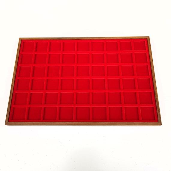 Art. VAG354  Vassoio numismatico per MONETE realizzato in legno e velluto. 54 squares 30 x 30 mm. Wood and velvet coin tray cabinet