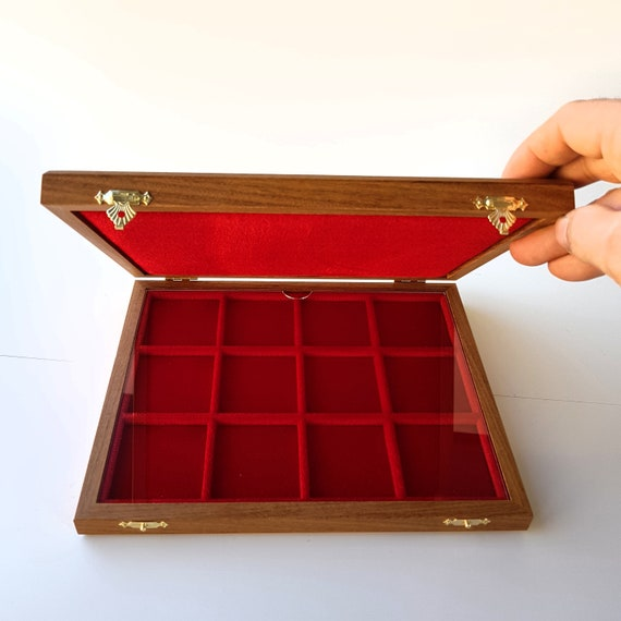 Art. ALM212 ZECCHI Case Solid Wood and Velvet Coin Case Wooden Coin Case Storage Box Solid Wood Coin Display Box