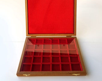 Art. ALM230 ZECCHI Case For Solid Wood and Velvet Coins Wooden Coin Case Coin Storage Box Solid Wood Coin Display Box