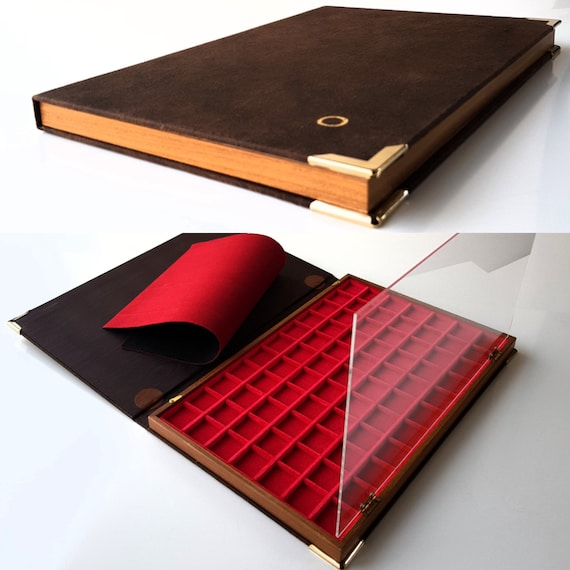 Book Large model tray by ZECCHI made of Wood and Velvet. Big Tray-Book for Coins Produced by ZECCHI