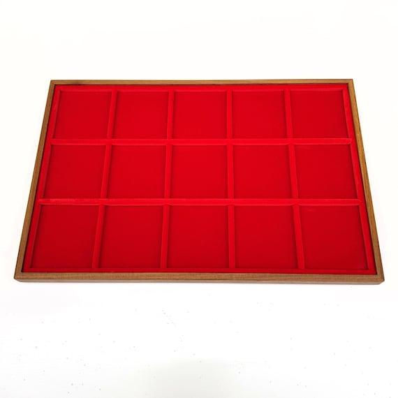 Art. VAG315  Vassoio numismatico per MONETE realizzato in legno e velluto. 15 squares 59 x 59 mm. Wood and velvet coin tray cabinet