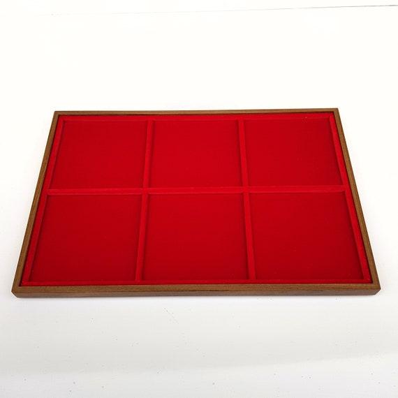 Art. VAG306  Vassoio numismatico per MONETE realizzato in legno e velluto. 6 squares 98 x 98 mm. Wood and velvet coin tray cabinet