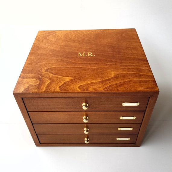 Cufflinks storage box 3 drawers for 75 pairs plus 1 drawer for jewelry and watches Box for twins watches and jewelry. 4 luxury drawers