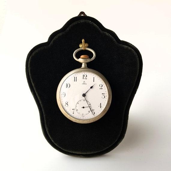 Pocket watch display stand, pocket watch holder, LUXURY Handmade pocket watch stand holder in wood, covered in velvet