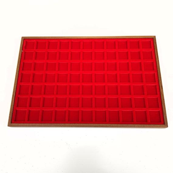 Art. VAG377  Vassoio numismatico per MONETE realizzato in legno e velluto. 77 squares 25 x 25 mm. Wood and velvet coin tray cabinet