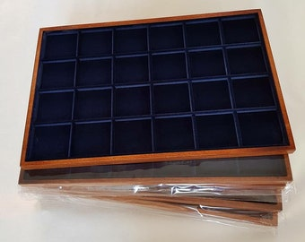 art. VAG324S Numismatic tray for COINS made of wood and velvet. Wood and velvet coin tray cabinet