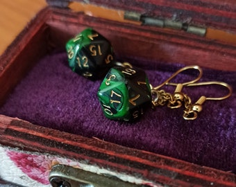 Dice earrings, dice fantasy jewelry, role play dice set, small wooden chest, chain earrings, drop earrings, green earrings, black earrings