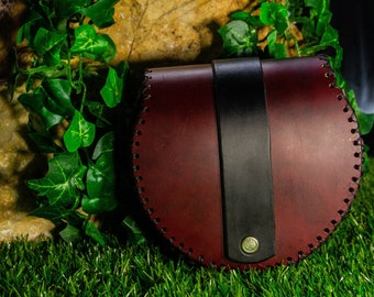 Handmade red vegan leather bag - Round small vegan leather pouch