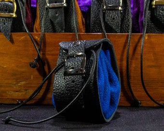 Blue leather pouch - leather dice tray