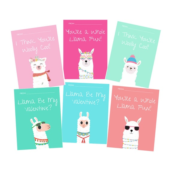 Llama Valentines Day Card for Kids Alpaca Printable