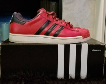 buy popular 06aa8 166a1 My Adidas vintage rare color combo! Red shell toe superstar with navy 3  stripe. Size 5.5 youth   Euro 38