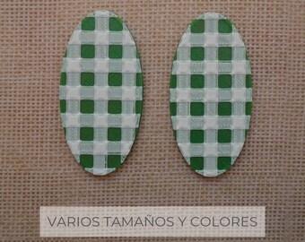 Pendientes Óvalo Vichy / Varios colores y tamaños / pendiente de plata // SOMOS VÉRTICES