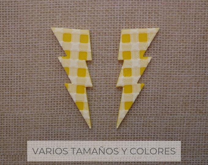 Pendientes Rayo Vichy / Varios colores y tamaños / pendiente de plata // SOMOS VÉRTICES