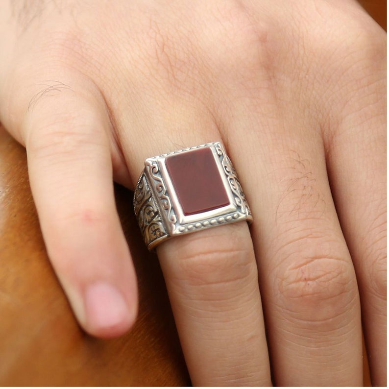 Gemstone  Ring Handmade Jewelry 925 Solid Silver Gift Ring Sterling Silver Mens Ring Handcarved Accessory Agate Ring Exclusive Ring
