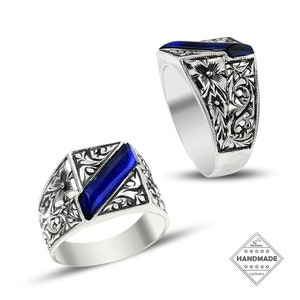 Men/'s Double Sword Ring Mytology Magic Cool Gift Him Vintage Handmade Heraldic Design Ring Oxidized Engraved Sterling Silver Jewelry