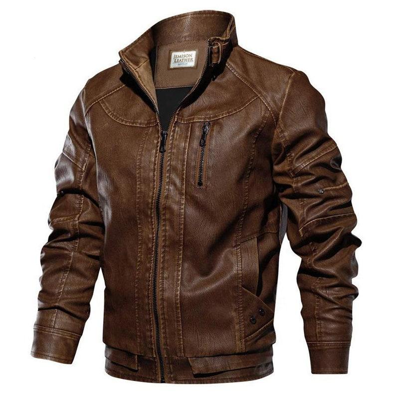 Jemison Leather Modern Fit Moto Brown Jacket