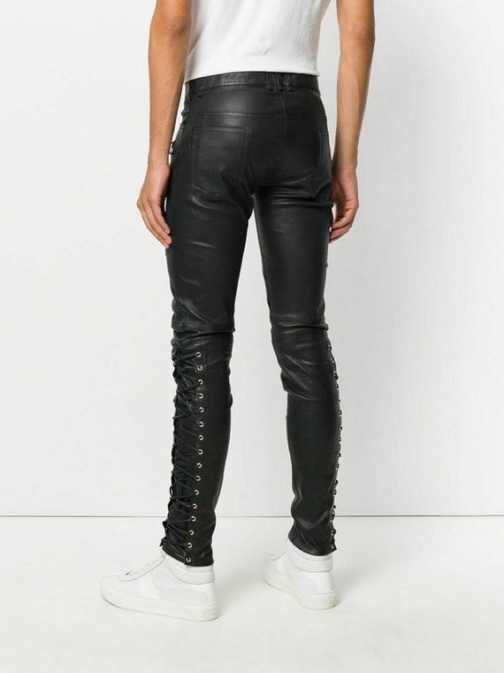 Men's Side Lace up Leather Pant Jeans Trouser