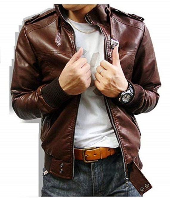 Slim fit Custom Made Genuine Leather jacket for men Lambskin