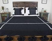 Moroccan Cotton Pom Pom Blanket Black White
