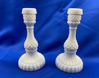 Vintage Hobnail Milk Glass Candle Holder - Hobnail Fenton Milk Glass Candle Holder - Vintage Collectables - Milk Glass Wedding Centerpieces
