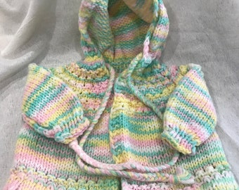 Vintage Hand knitted Baby Hooded Cardigan  - Hand Knitted Infant Cardigan - Vintage Baby Cloths - Vintage Knitting