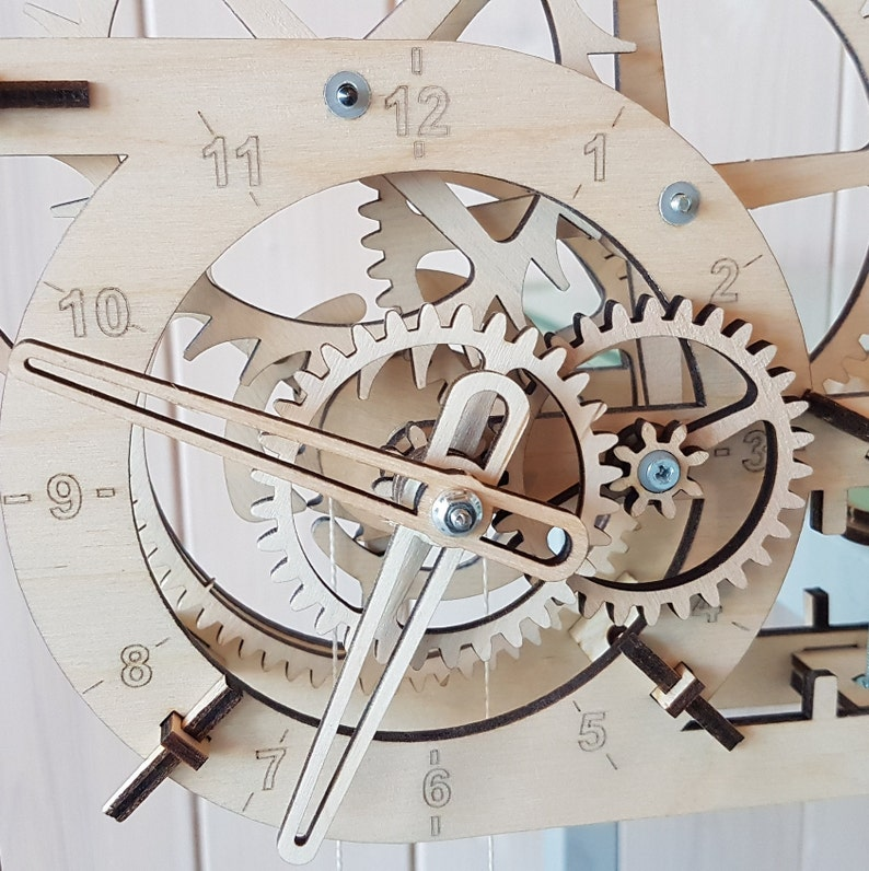 Wooden real simplest Clock  Kit to build  Work without battery  3D Wood  Puzzle  Mechanical pendulum clock
